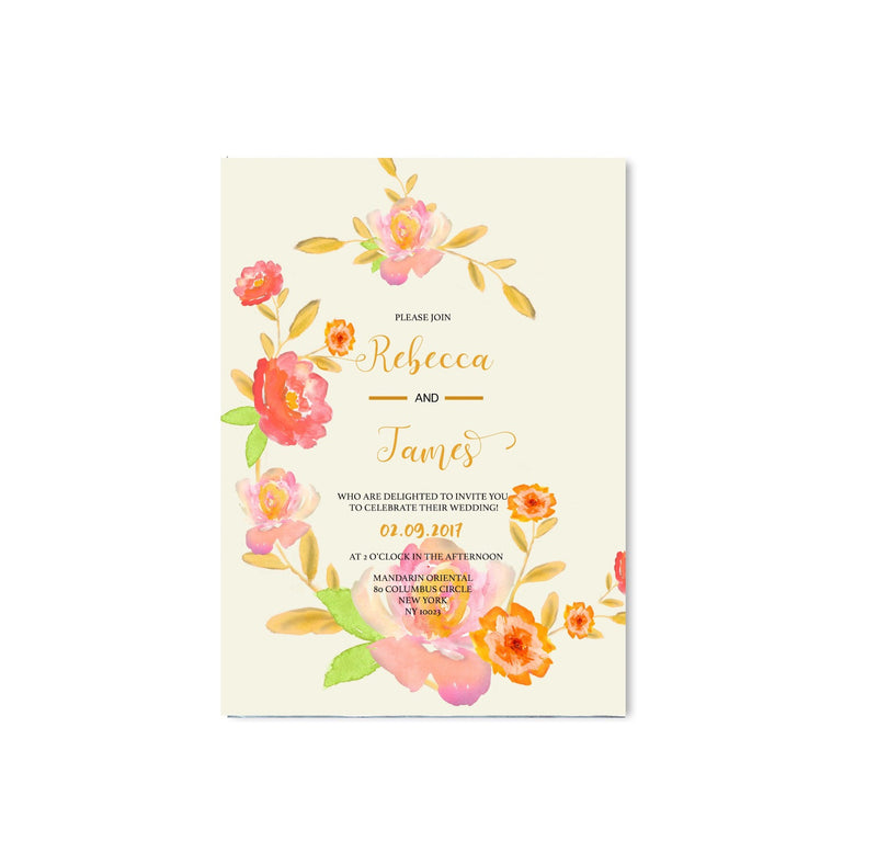 Watercolour Floral Wedding Invitation - Mode Prints