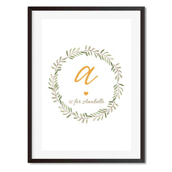 Personalised New Baby Print Wreath Wall Art Print - Mode Prints