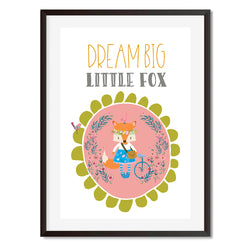 Dream Big Little Fox by Mode Prints Sage Red Wall Art Print