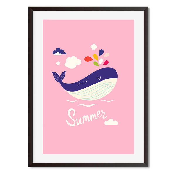 Summer Pink Whale Wall Art Print