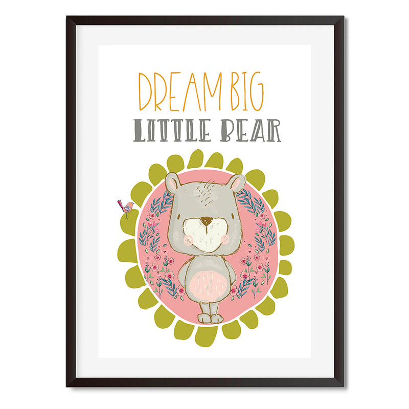 Dream Big Little One Teddy & Bird Wall Art Print - Mode Prints