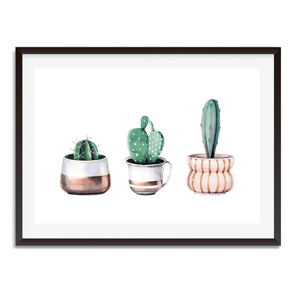 Three Cacti Potted Plants Wall Art Print
