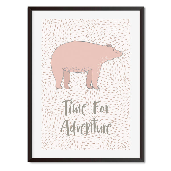 Pink Bear Time For Adventure Wall Art Print