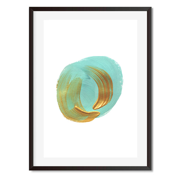 Abstract Acrylic Paint Green On Gold Wall Art Print - Mode Prints