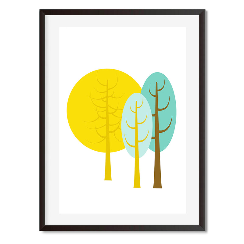 Three Trees Landscape Wall Art Print