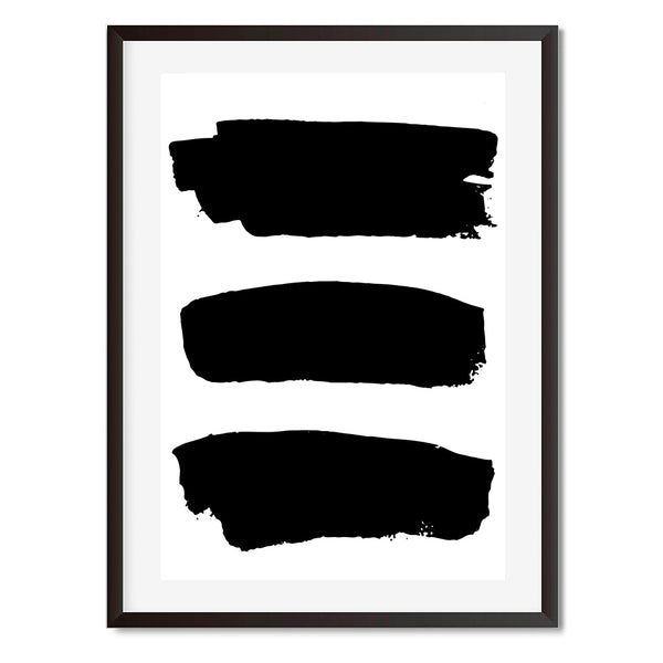 Black and White Abstract 3 Lines Wall Art Print