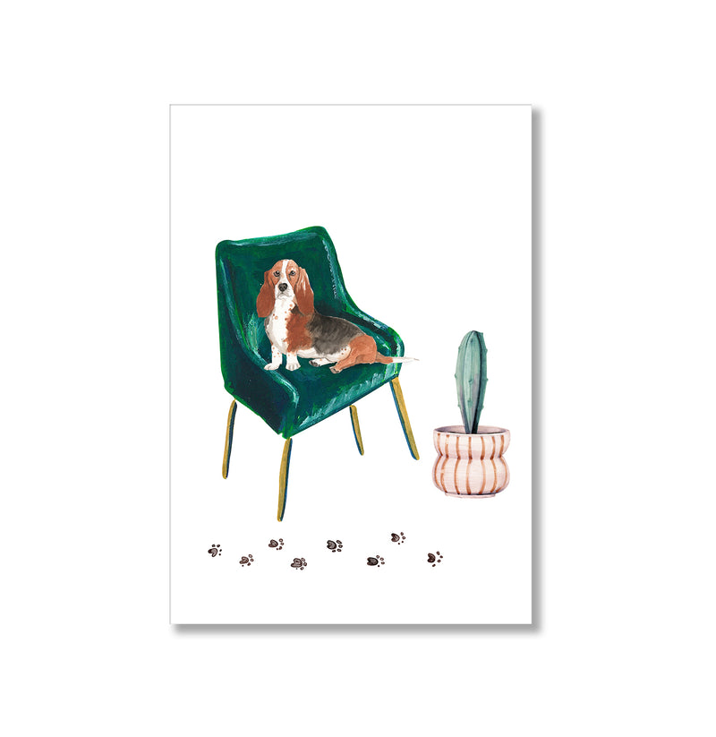 Basset Hound Dog On Armchair Wall Art Print - Mode Prints