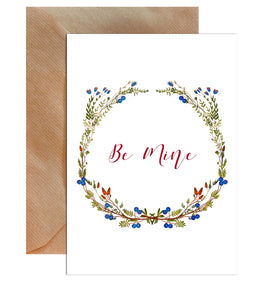 Be Mine Floral Valentine's Day Greeting Card-Greeting Cards-Mode Prints