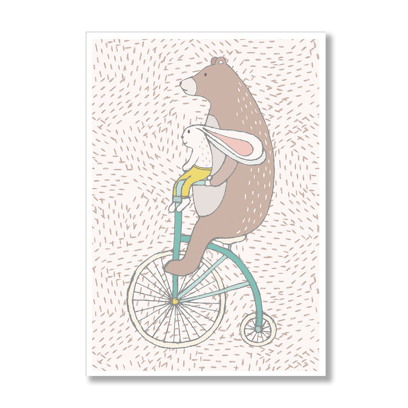 Bear And Bunny On Unicycle Wall Art Print - Mode Prints