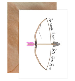 Because Love Sets You Free Valentine Arrow Greeting Card-Greeting Cards-Mode Prints