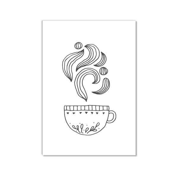Black And White Tea Cup Wall Art Print - Mode Prints