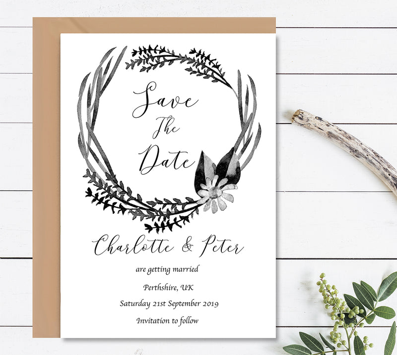Black And White Watercolour Save The Dates Wedding Card - Mode Prints