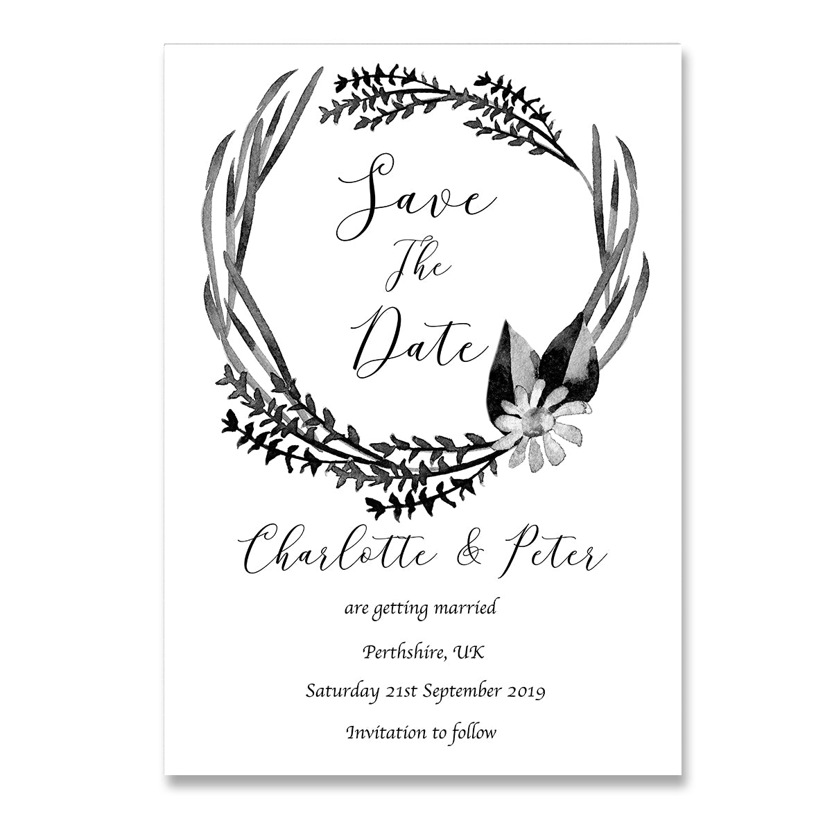Black And White Watercolour Save The Dates Wedding Card-Wedding Stationary-Mode Prints