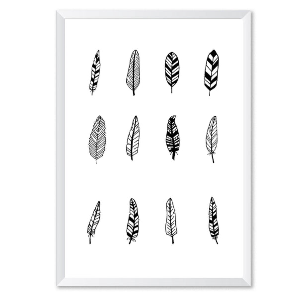 Black Feather Illustrations Poster Print