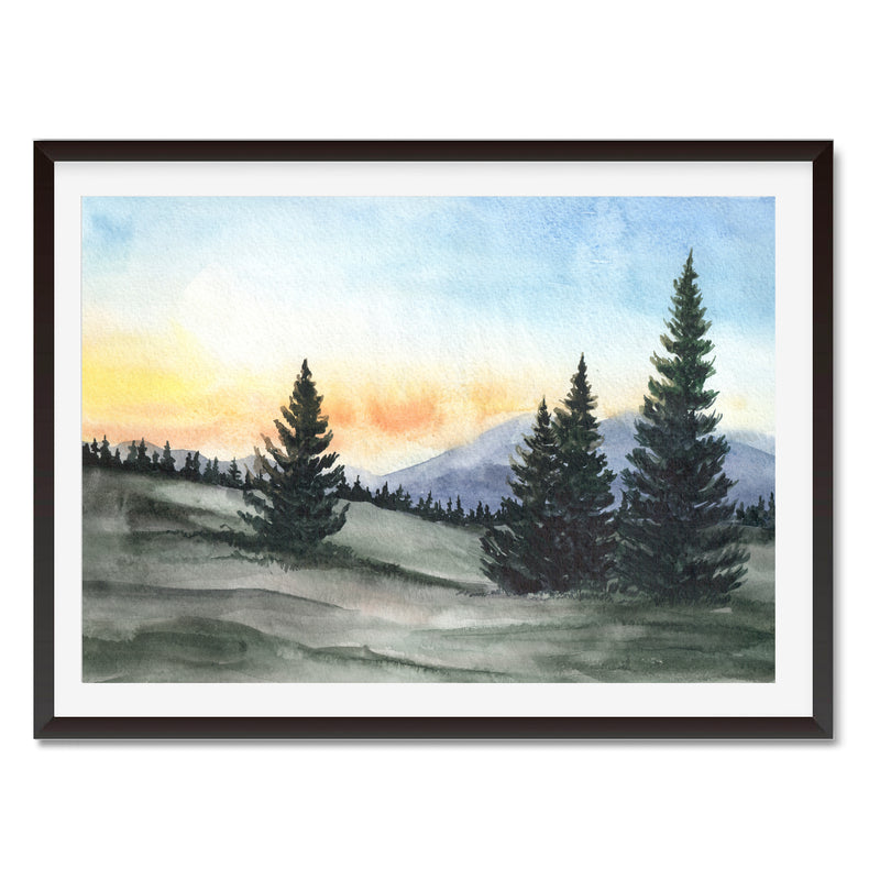 Watercolour Sunset In The Forest Wall Art Print