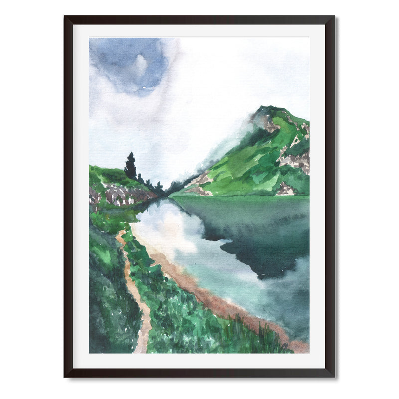 Watercolour Walk By The River Wall Art Print