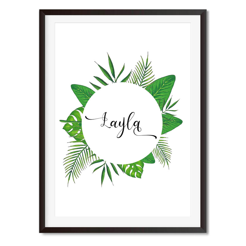 Personalised Watercolour Botanical Name Wall Art Print - Mode Prints