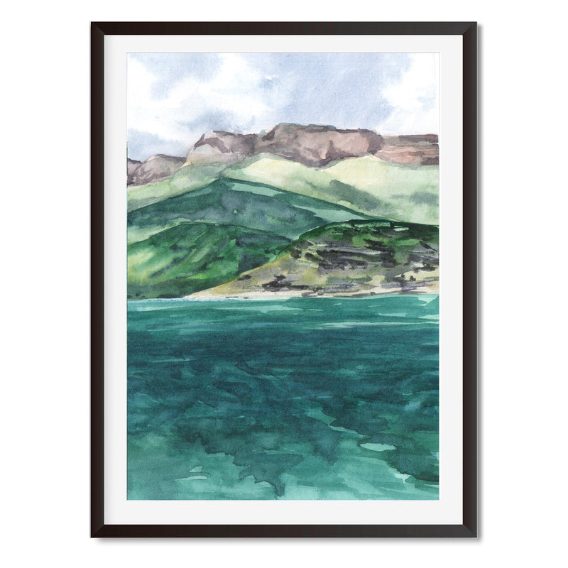 Watercolour Ocean Landscape Wall Art Print