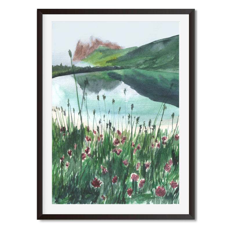 Watercolour River Reflections Landscape Wall Art Print
