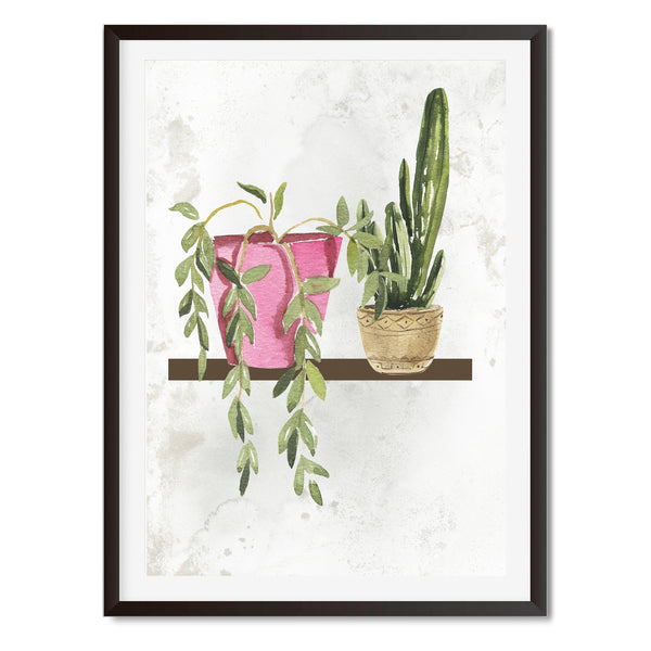 Watercolour Pair Of House Plants Wall Art Print