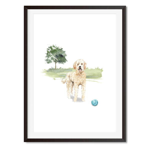 Golden Doodle Dog Watercolour Wall Art Print - Mode Prints