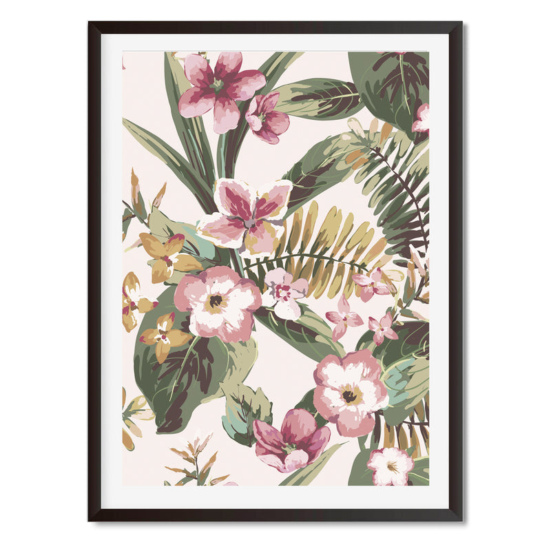 Watercolour Tropical Flowers Wall Art Print
