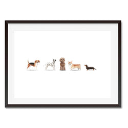 5 Dog Friends Watercolour Print - Mode Prints