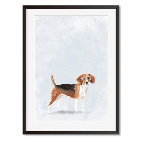 Beagle Watercolour Dog Wall Art Print - Mode Prints