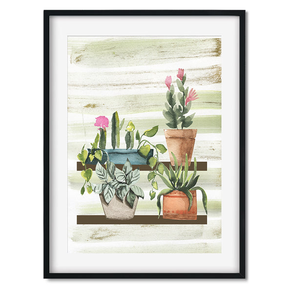Watercolour Potted Plants On Shelf Wall Art Print
