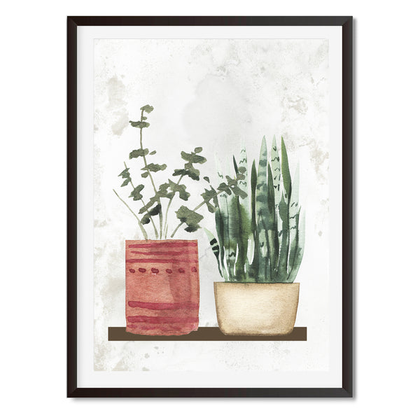 Watercolour Pair Of Potted Plants Wall Art Print