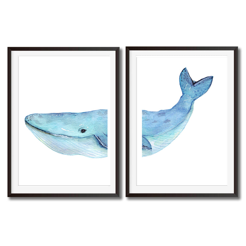 Whale Watercolour Set Of Two Wall Art Prints