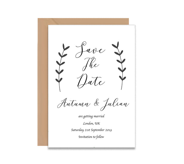 Black Leaves Save The Dates Wedding Card - Mode Prints