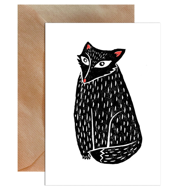 Black Linocut Fox Children's Greeting Card - Mode Prints