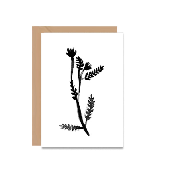 Black & White Botanical Leaf Greeting Card - Mode Prints
