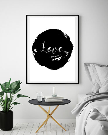 Black & White Abstract Love Poster Print-Print-Mode Prints