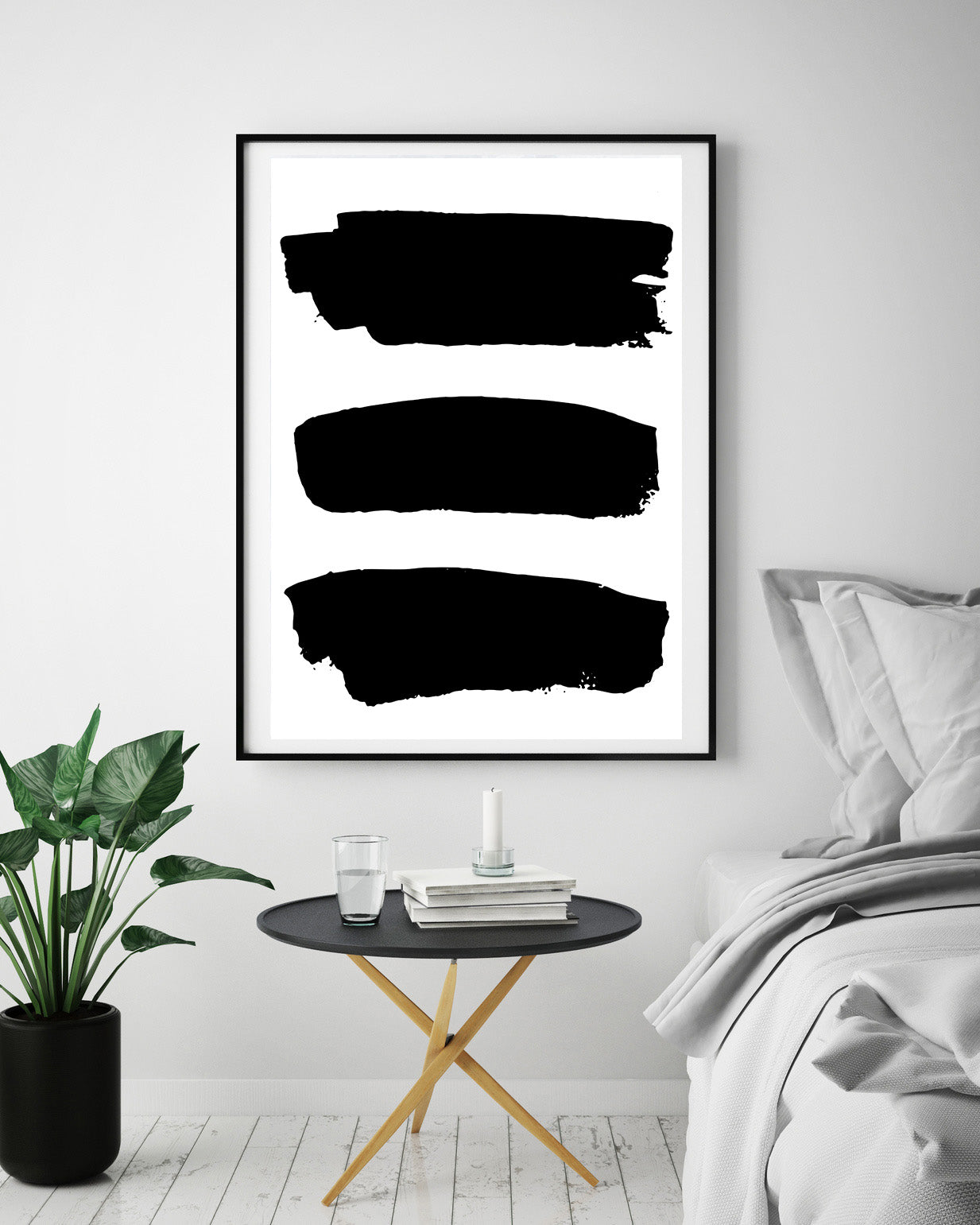 Black & White Abstract 3 Lines Poster Print-Print-Mode Prints