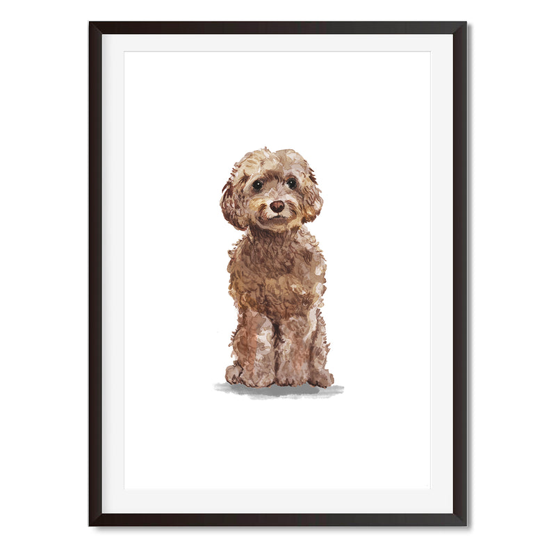 Brown Cockapoo Watercolour Dog Wall Art Print - Mode Prints