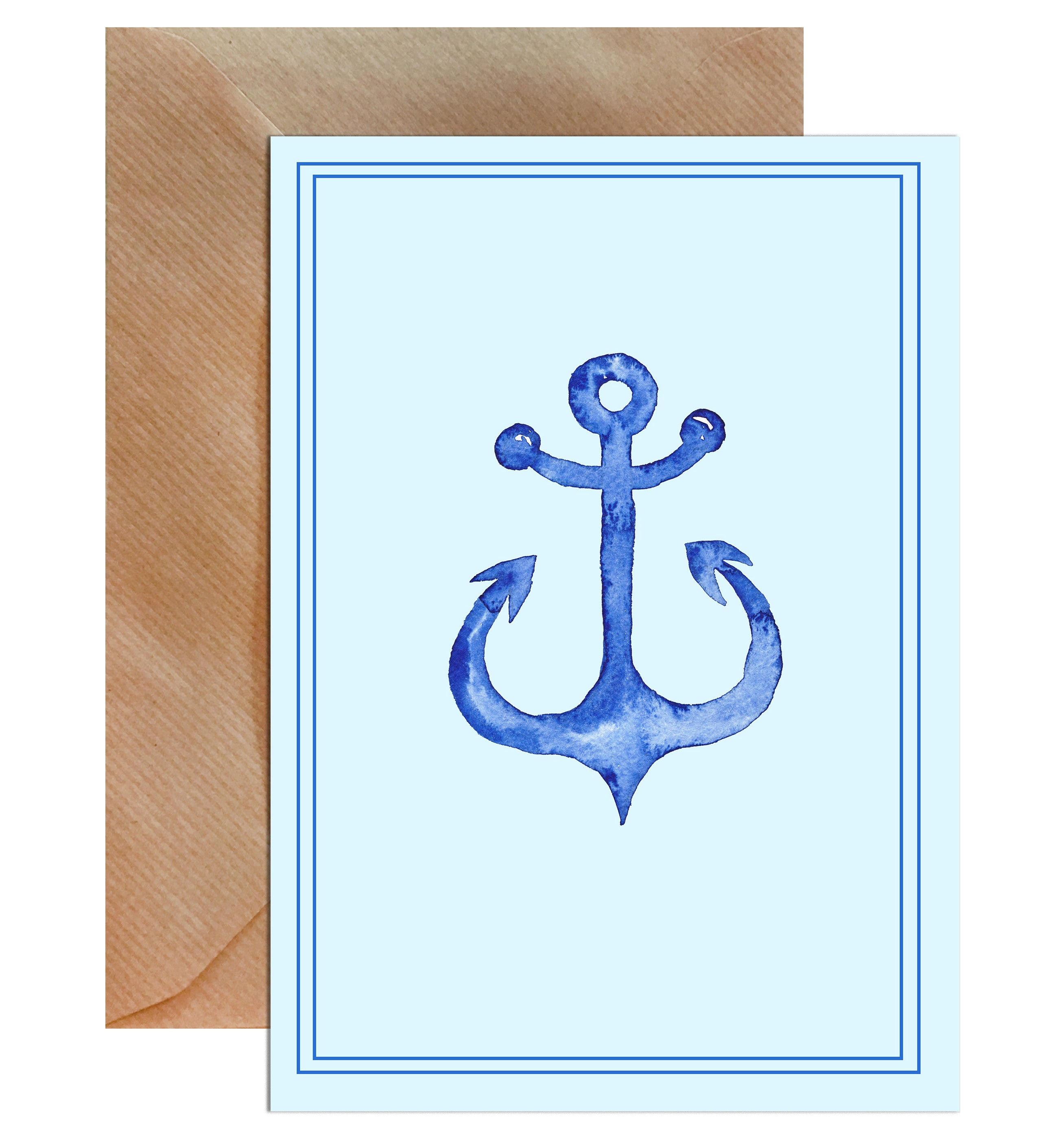 Blue Anchor Sailor Blank Greeting Card-Greeting Cards-Mode Prints