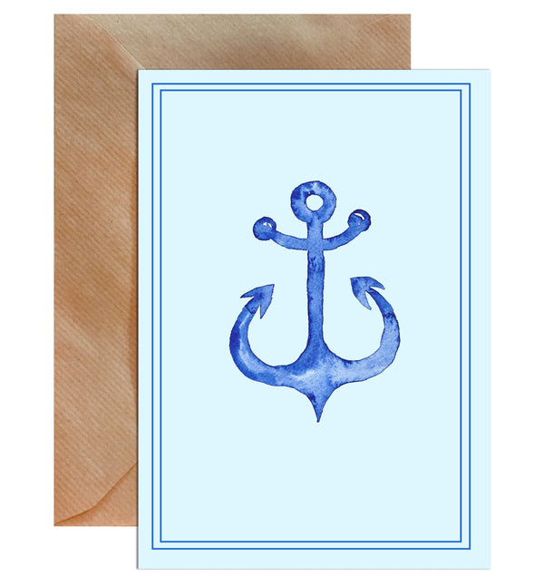 Blue Anchor Sailor Blank Greeting Card - Mode Prints