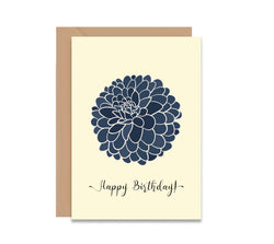 Happy Birthday Blue Dahlia Flower Card - Mode Prints