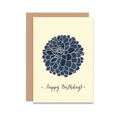 Happy Birthday Blue Dahlia Flower Card