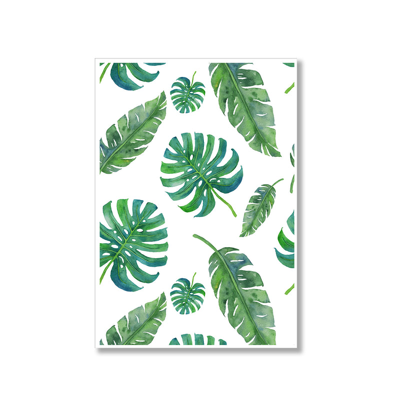 Watercolour Monstera Leaves Wall Art Print