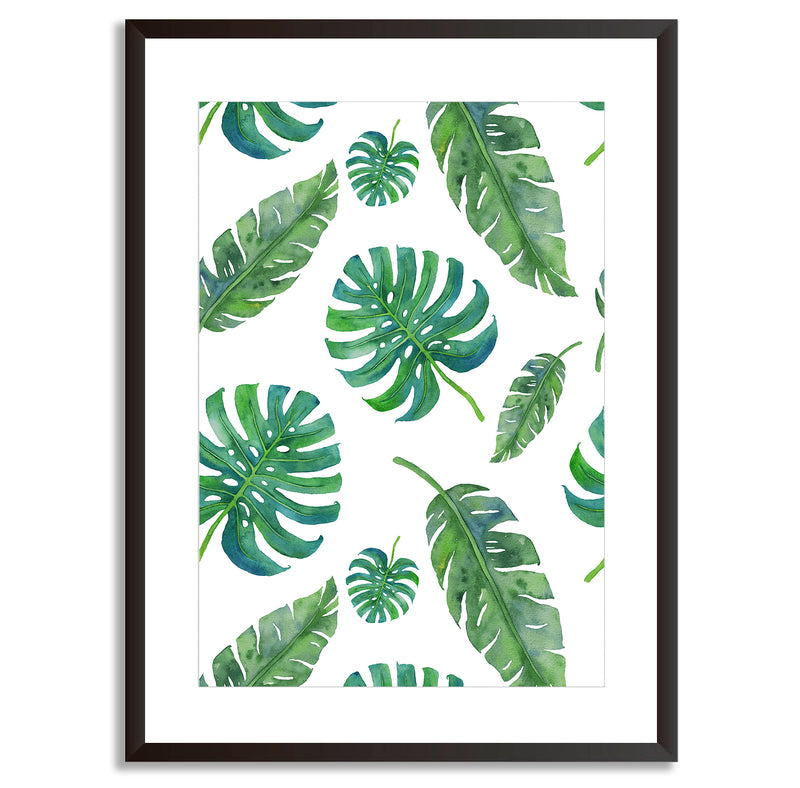 Watercolour Nature Leaves Pattern Wall Art Print