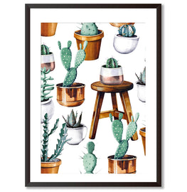 Cacti Pattern Botanical Poster Print - Mode Prints