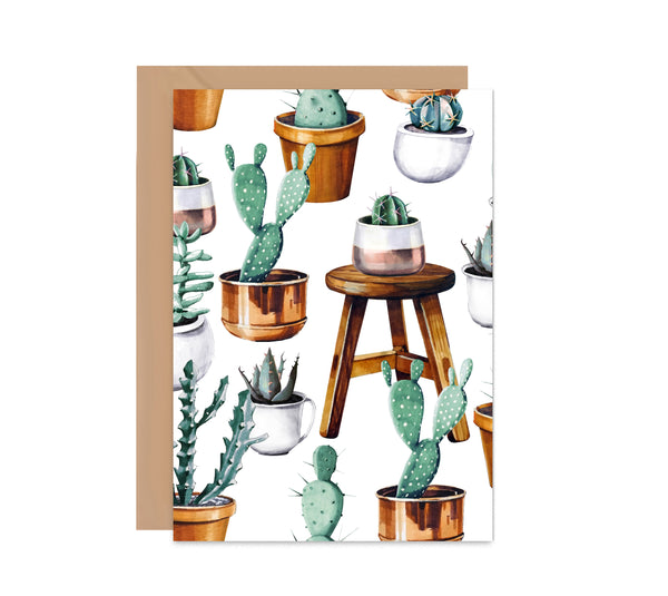 Cactus House Plant Greeting Card - Mode Prints
