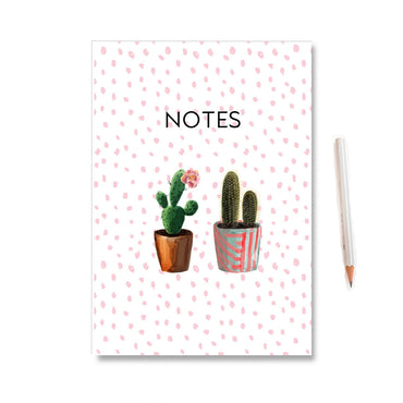 Cactus Illustrated Polka Dot Notebook