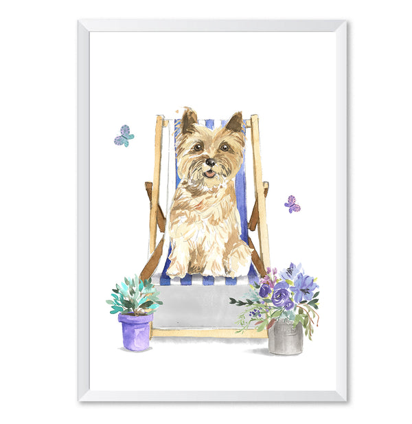 Cairn Terrier In Deck Chair Watercolour Dog Print - Mode Prints