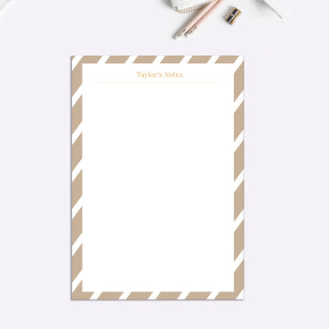 Camel Stripes Personalised Notepaper Set