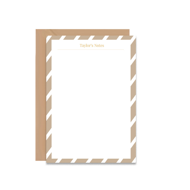Camel Stripes Personalised Notepaper Set - Mode Prints