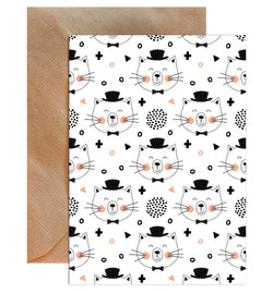 Cat In Top Hat Children's Greeting Card - Mode Prints